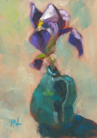 Iris in Turquoise Vase, oil on gessoboard, 5 x 7, 2013