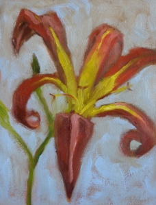 Tiger Lily on Blue Background, oil on canvas panel, 6 x 8, 2013