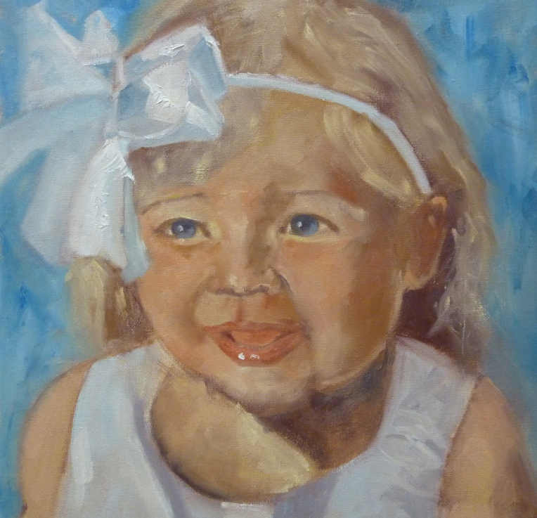 Little Girl in White Ribbons Oil Portrait