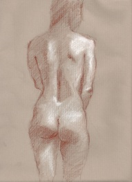 Standing back view of nude charcoal 9 x 12 approx