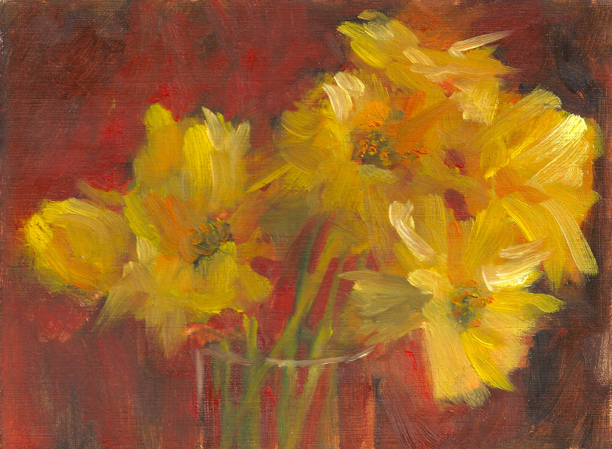 Yellow flowers in a glass vase marlene lee art 65 yellow flowers in a glass vase mightylinksfo