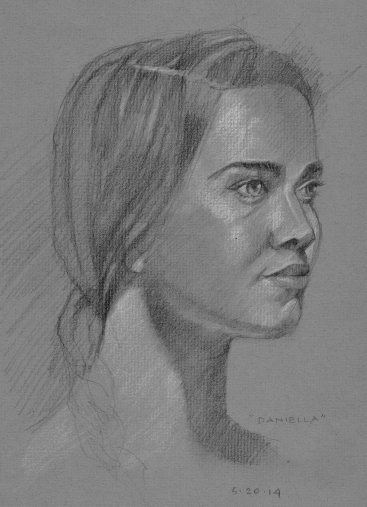 Model with pigtail pencil 9x12