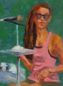 7_14_14 Girl Drummer 6x8 oil