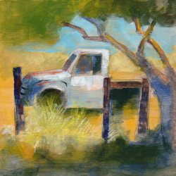 Old White Truck, mixed media