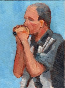 11Aug14 HarmonicaPlayer 6x8oil