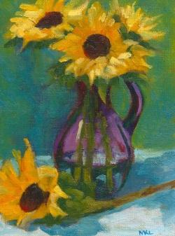 Sunflowers in Purple Vase
