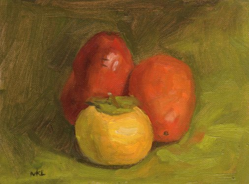 102714 Three Pomegranates 8x6 oil