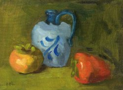 102814 Pitcher with Two Pomegranates 8x6 oil