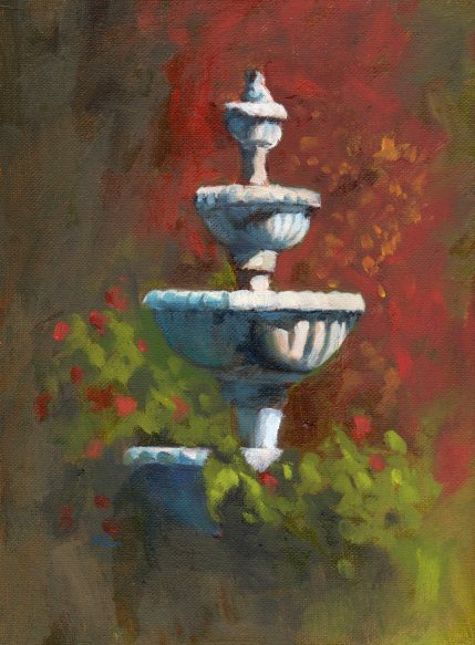 Capitol Fountain, oil, 9 x 12 inches