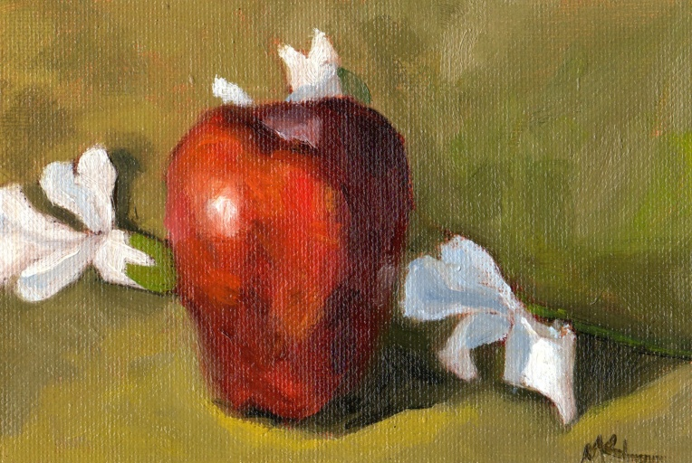 120914 Apple with White Flowers oil 7x5
