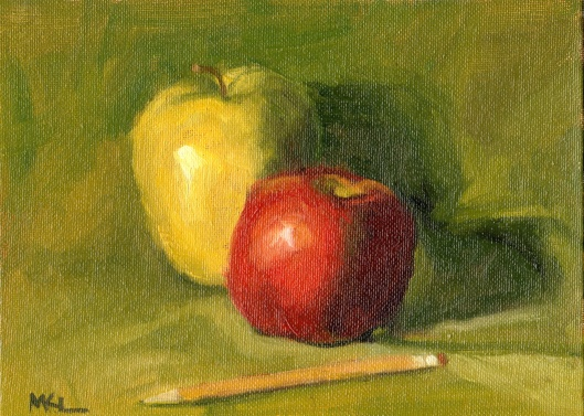 121114 Apples with Pencil oil 6x8