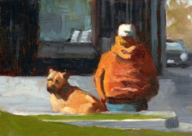 Homeless with Dog 2014 oil 5 x 7