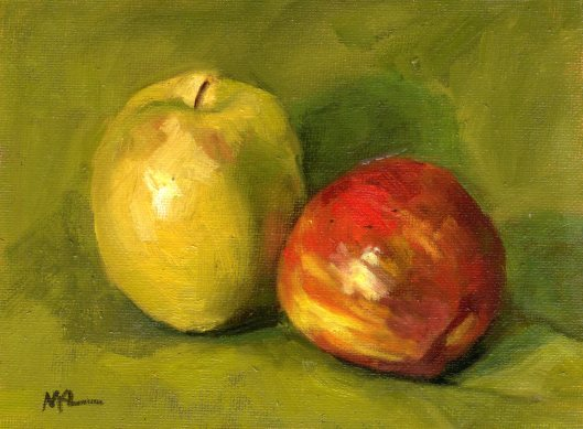 Yellow and Red Apples 2014 oil 6 x 8