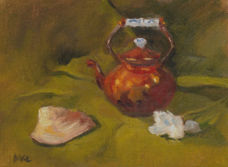 Copper Kettle, Seashell with White Flower 2014 oil 8 x 6