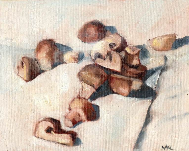 Mushrooms 2015 oil 8 x 10