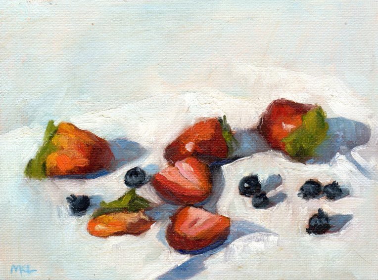 Strawberries & Blackberries 2014 oil 8 x 6