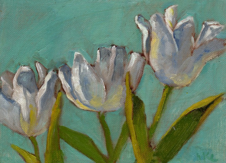 White Petals Spreading 2015 oil 6x8