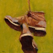 Brown shoes, oil, 8 x 8 in.