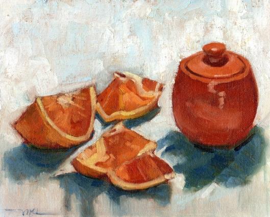 Orange Slices w Orange Jar 031815 oil w CW 8x10