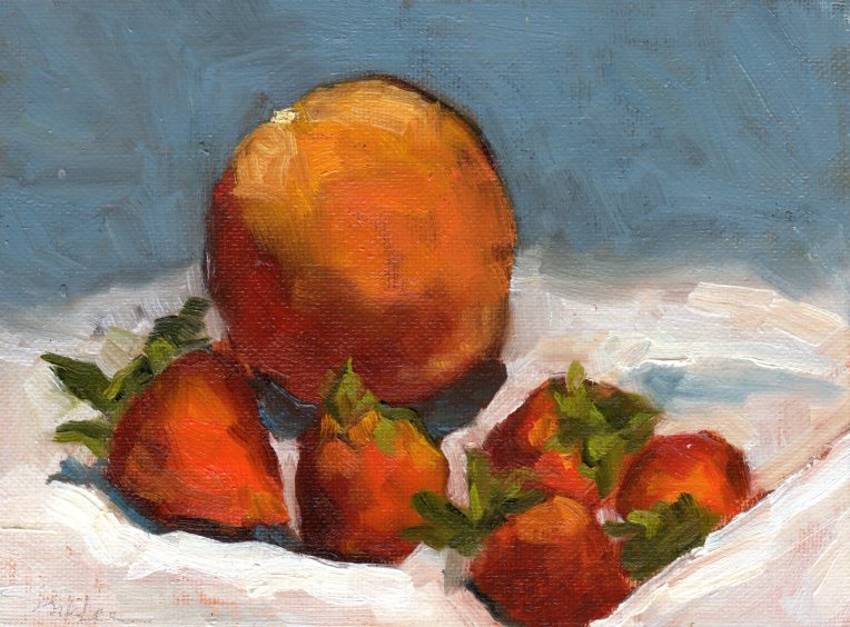 Orange & Strawberries 021815 oil 6x8
