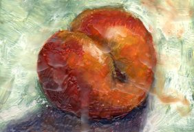 Plum, encaustics, 4 x 4 inches