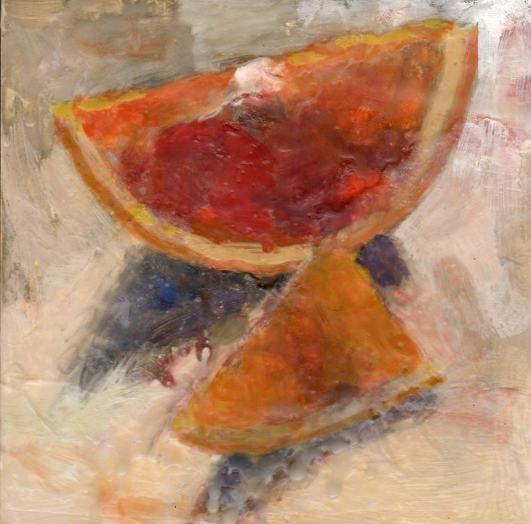 Sliced Oranges 030615 encaustic paper 6x6
