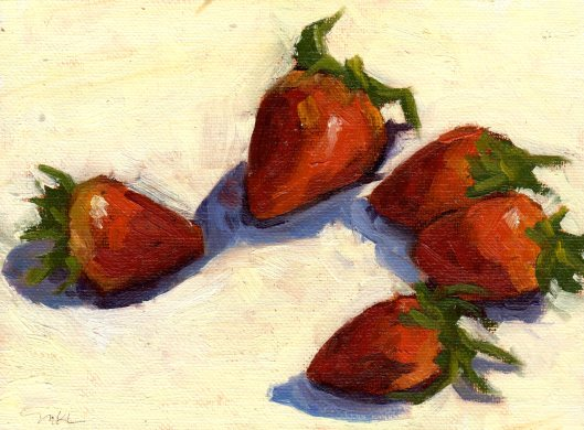 Strawberries in a Circle 021915 oil 6x8