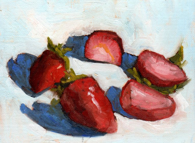Strawberries in a Circle 2015 oil 6x8