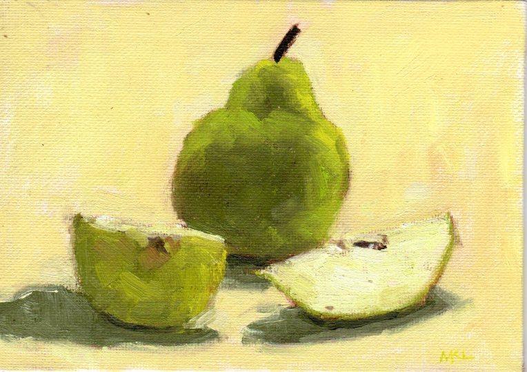 Unsliced Pear 032615 oilcoldwax 5x7