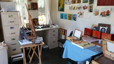 Another view of encaustic set up