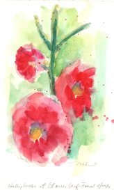 Hollyhocks at Cloverleaf Farm, watercolor, 8x5