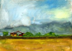 Cloverleaf Farm, oil, 6 x 8 inches, SOLD