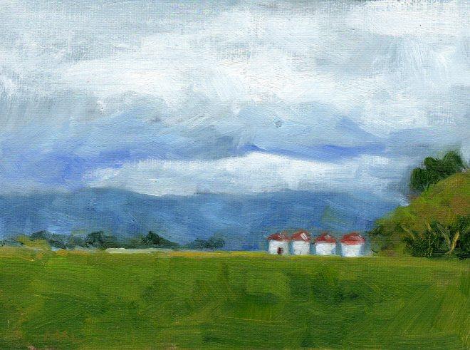 Cloverleaf Farm Silos 050615 oil 6x8