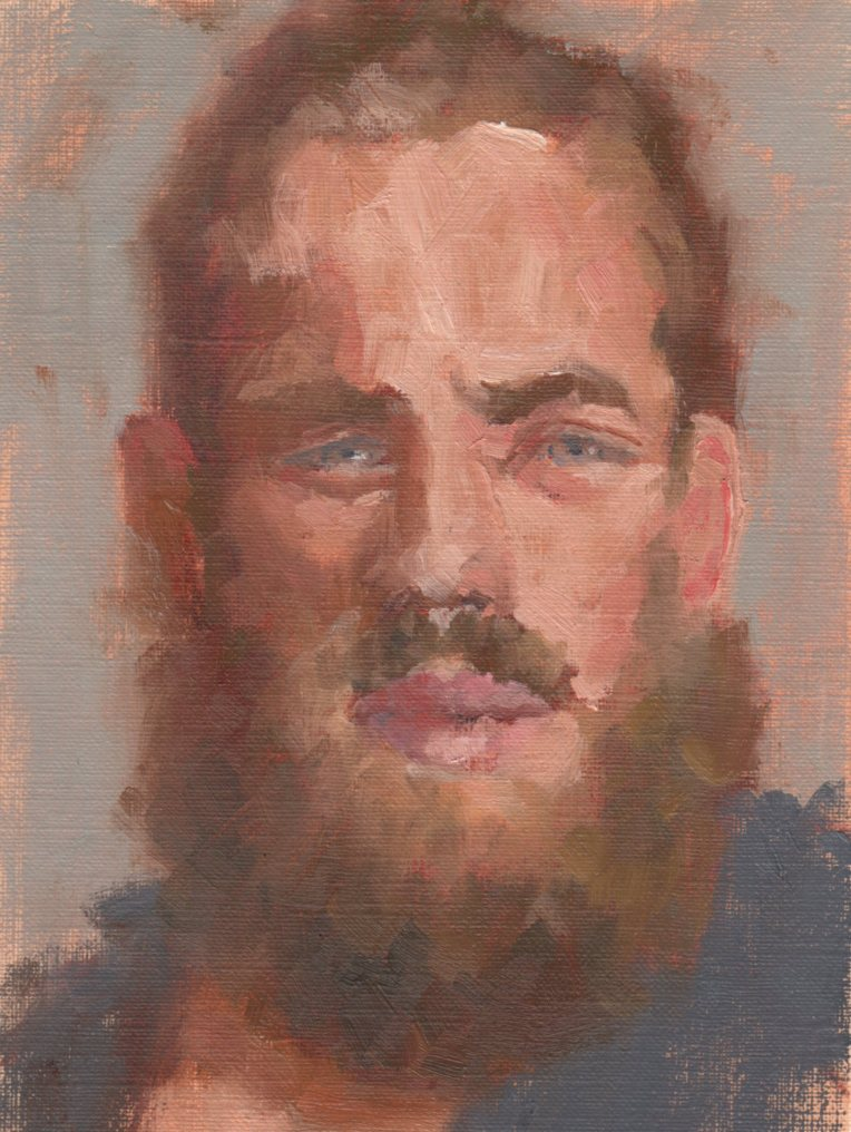 young man with bushy beard May2015 oil 6x4