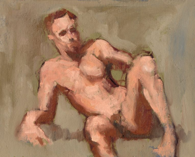 Male Model at the Pence, oil, 6 x 8 inches