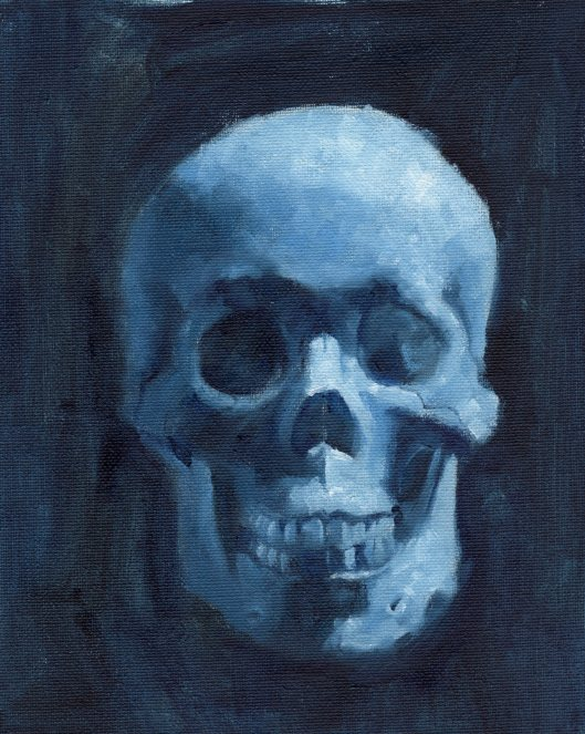 Skull Front thalo blue w blk wht 060115