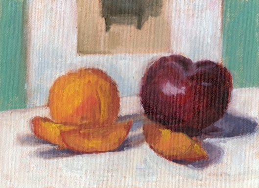 Apricot and Plum, 6 x 8, oil on canvas panel