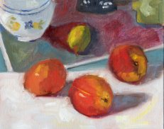 Nectarines and a Matisse, oil on canvas panel, 8 x 10 inches