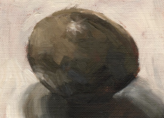 Avocado Ripening, oil, 2.5 x 3.5 inches