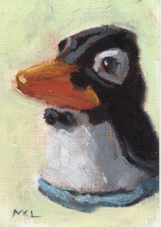 Penguin, 3.5 x 2.5 inches, oil on paper