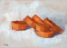 Sliced Carrots for Stew, oil on linen board, 6 x 8 inches