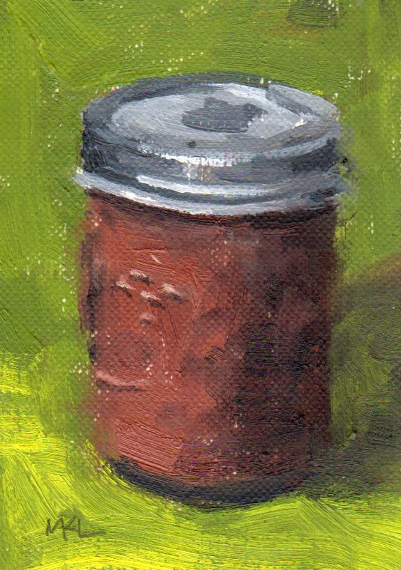A Jar of Apple Butter, oil on canvas paper, 3.5 x 2.5 inches