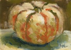 A White and Orange Pumpkin, oil on canvas paper, ACEO, 2.5 x 3.5 inches