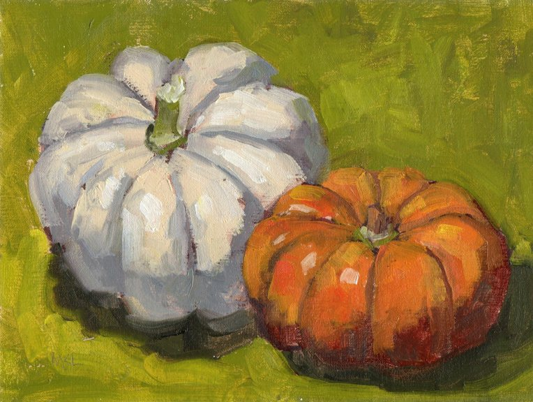 Two Pumpkins, oil on linen panel, 6 x 8 inches