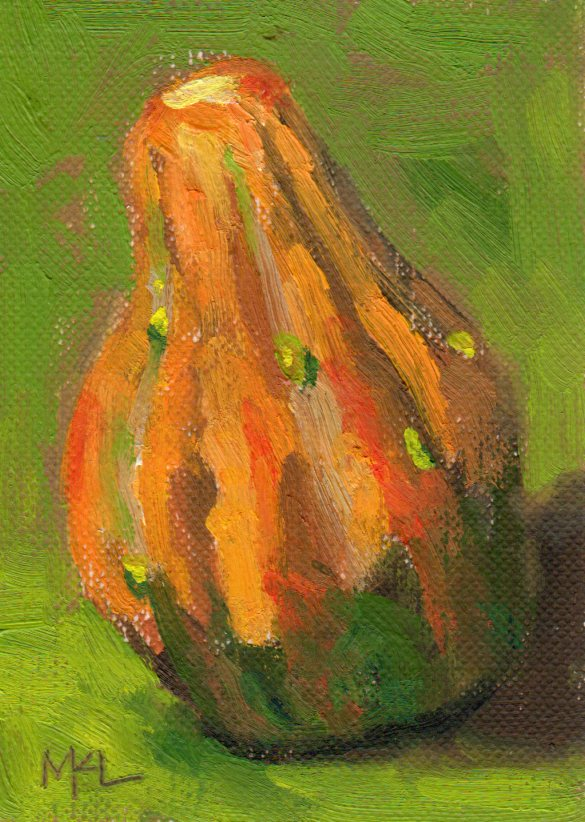 The Bumpy Pumpkin, oil on canvas paper, 2.5 x 3.5 inches