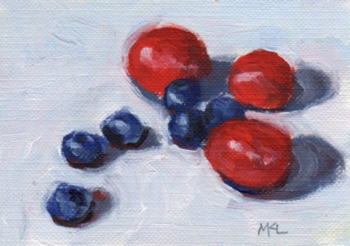 Blueberries & Grapes, oil on canvas paper, 2.5 x 3.5 inches
