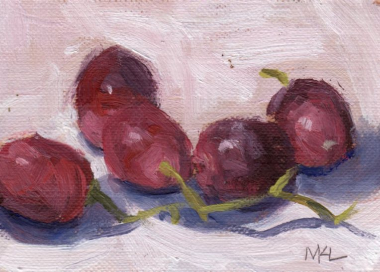 Cluster of Grapes, oil on canvas paper, 2 1/2 x 3 1/2 inches