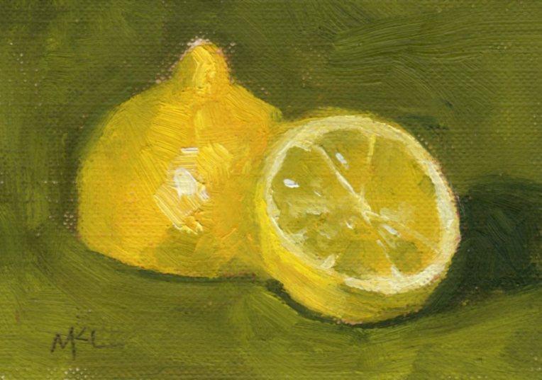 Sliced Lemon, oil, 2.5 x 3.5