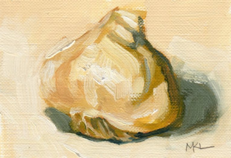 Garlic, oil, 2.5x3.5, ACEO
