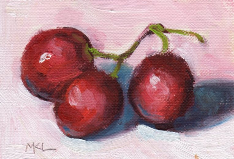 Juicy Grapes, oil, 2.5 x 3.5